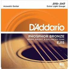 D`Addario EJ15 PHOSPHOR BRONZE - струны для акустической гитары