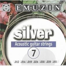 Эмузин 7A222 Silver - комплект струн для 7-струнной акустической гитары
