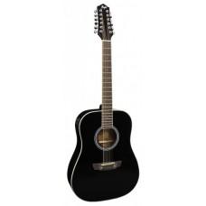 FLIGHT D-200/12 BK EQ - 12-струнная акустическая гитара